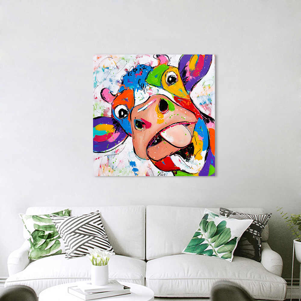 HDARTISAN Vrolijk schilderij Wall Art Animal Picture Canvas Painting Cow For Living Room Print Posters no Frame