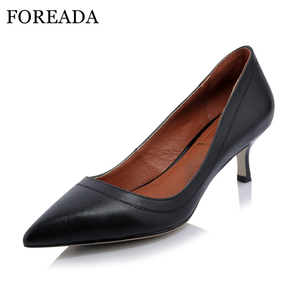 FOREADA Genuine Leather Shoes Women High Heels Pointed Toe Office Lady Work Shoes Natural Real Leather Pumps Black White 34-40 foreada genuine leather shoes women flats round toe lace up oxfords shoes real leather casual boat shoes brown pink size 34 40