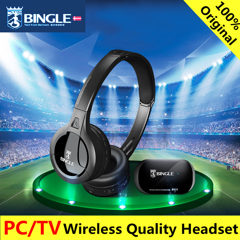bingle B616 Cuffie radio FM Cuffie TV Wireless stereo multifunzione con microfono Rapporto FM per telefoni TV PC MP3