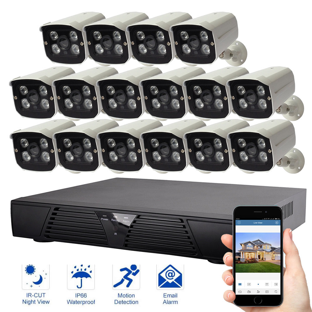 16CH sistema de seguridad IP 16 piezas cámara IP Video vigilancia 1080 p sistema de visión nocturna al aire libre impermeable cámara de seguridad Kit