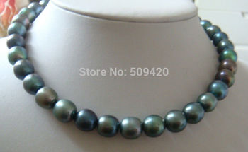 natural 10-12mm tahitian peacock green pearl necklace 18inch
