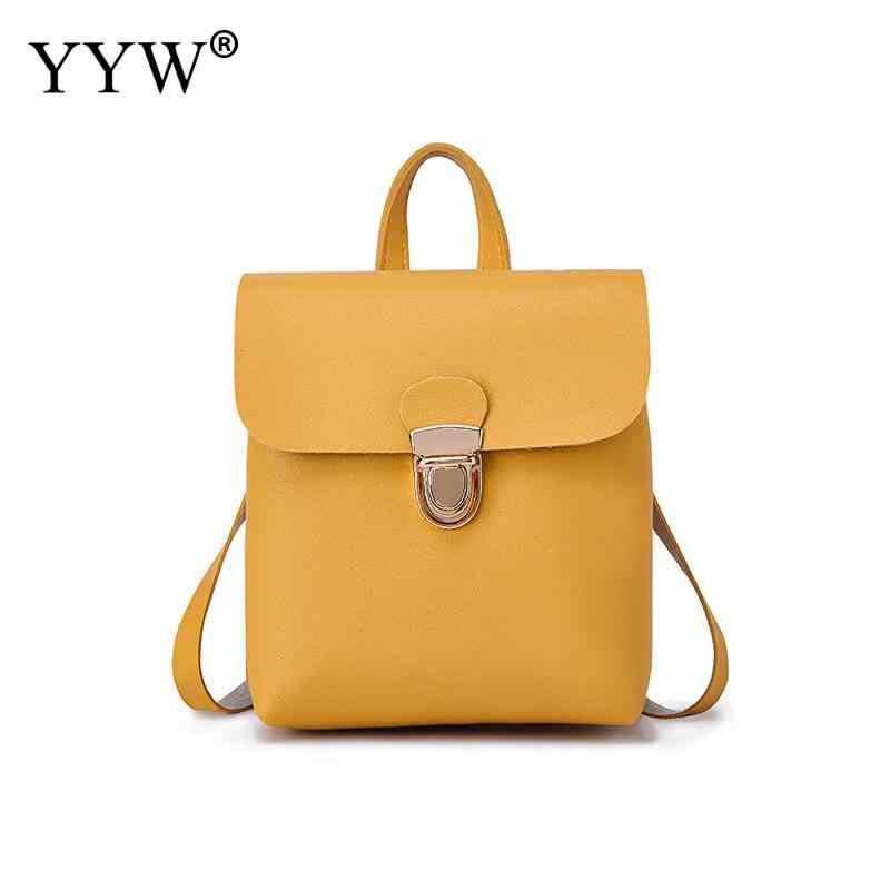 ea93bfbbae11 Pu New Yellow Backpack For Girl Mini Back Pack Purse Women Shoulder  Crossbody Bag Lady Rucksack