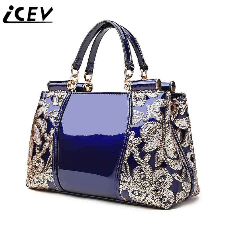 ICEV New Brands Flower Luxury Handbag Designer Handbags High Quality Women Leather Handbags Sequin Female Handbags Embossed Bag