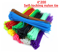 100PCS 4*200mm nylon cable tie Color self locking plastic bundle wire cable tie red yellow green width2.46mm