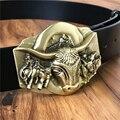 Кожаный Пояс Ковбой Латунь Бык Пряжки Мужские Ремни Люкс Мужская Пояса Винтаж Ceinture Homme Cinturones Мужской Ремень MBT0389