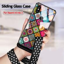 Voor Xiaomi Mi Mix 3 Case Slide Glas Geschilderd Cover, vpower Gehard Shockproof Phone Case Voor Xiaomi Mi Mix3 Mix 3 Luxe Shell