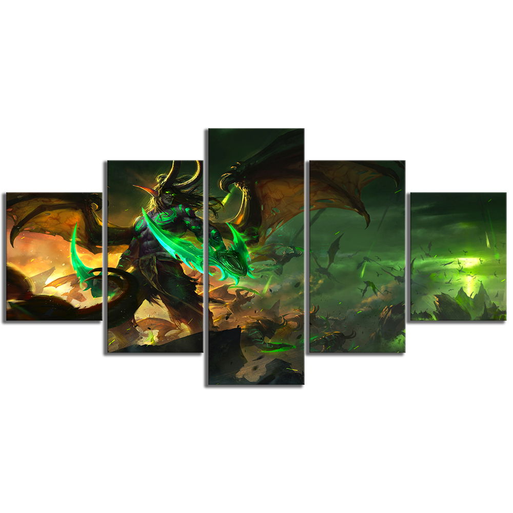 5 Piece Illidan Stormrage World of Warcraft Game Poster Drawing Art HD Canvas Paintings Wall Art for Home Decor 3