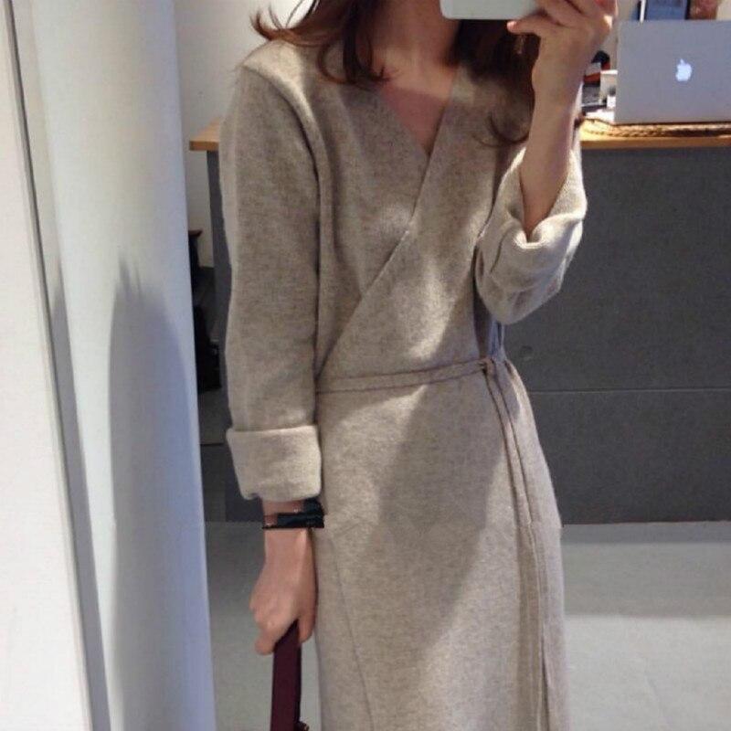 2018 Women Autumn Winter V neck Bandag Wool Long Dress Long Sleeve Knitted Elegant Loose Plus Size with Belt Robe Femme Jurken