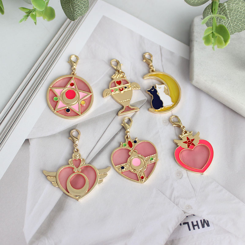SANSUMMER 2019 New Style Fashion Alloy Dripping Oil Fashionable Pink Love Wing Moon Cat Key Ring Key Link Box Bag Hanger 5105