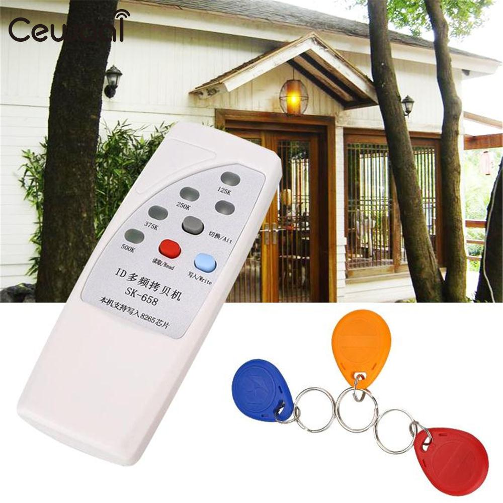 Cewaal RFID Handheld 125KHz Door Access ID Card Copier Reader Writer Duplicator Cloner White 3 Writable Cards