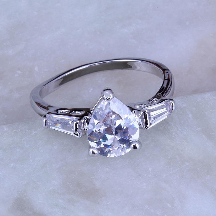 love monologue silver color rings teardrop shape white cubic zirconia womens wedding ring j0177 - Teardrop Wedding Ring