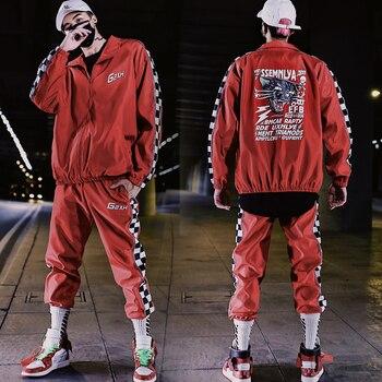 2 Pieces Sets Men Color Block Patchwork Jacket And Loose Fit Elastic Waist Pants Hip Hop Mens Tracksuit Sweatsuits Streetwear