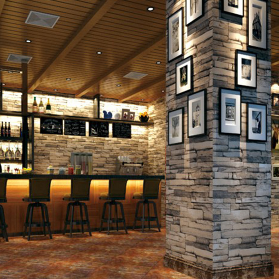 3D Stone slate block wall papers PVC vinyl brick wallpapers for