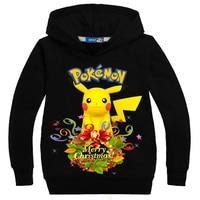 2017 Children Hoodies Pokemon GO Pikachu Christmas Kids Long Sleeve Sweatshirt Baby Boys Girls Cartoon Clothing