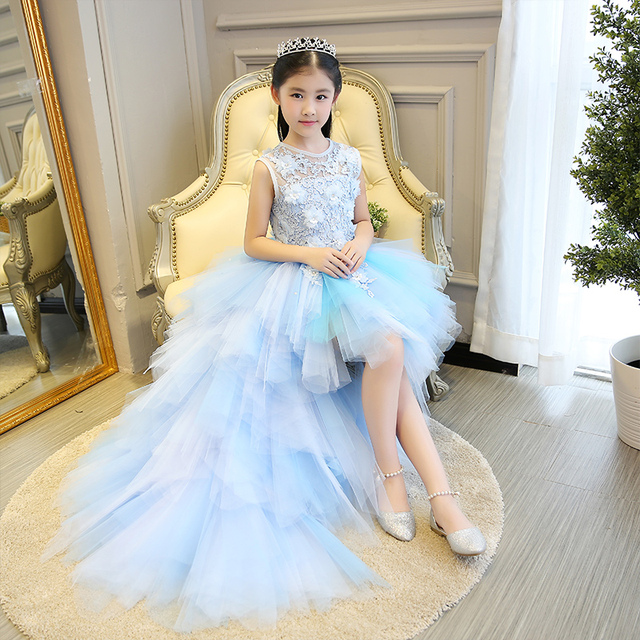 Children Baby Flower Formal Evening Tail Dress Ball Gowns Prom Wedding Bridesmaid Kid Clothes Beautiful