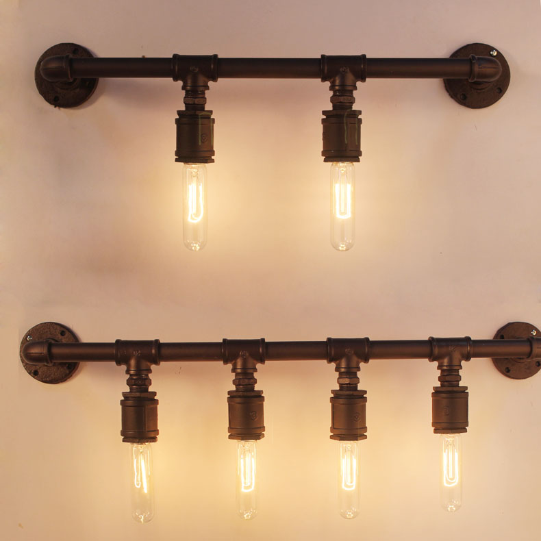 Classical vintage water pipe Iron wall lamp rteo loft home deco E27 ...
