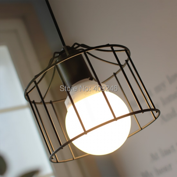 ФОТО Nordic Vintage Industrial Hanging Light Mini Pendant Cage Wire Ceiling Lamp Guard Black Cafe Bar Hall Club Store Restaurant