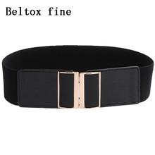 Womens 6.5cm Wide Belt Lady Cummerband Elastic Stretch Cinch Waistband cummerbunds belts for women Black