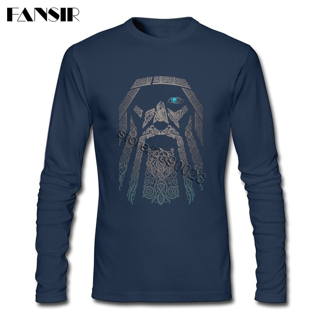 80S Vintage Fashion Odin Vikings T Shirt Men Movie Tees Shirt O-neck Long Sleeve Cotton T-shirt 1