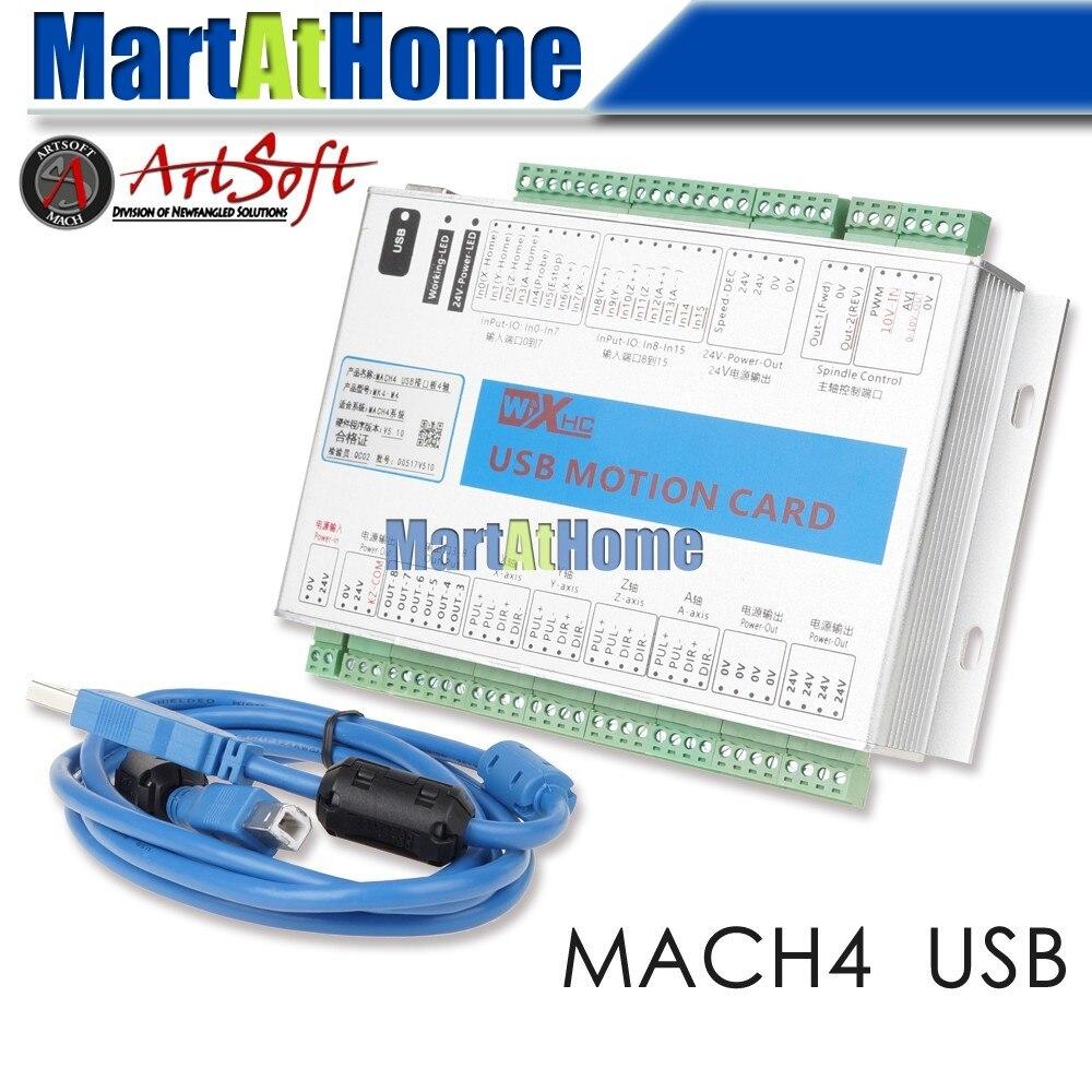 USB 2 мГц Mach4 ЧПУ 4 оси движения Управление карты Breakout совета MK4-M4 для станки, машина Centre, Гравировальный машины # SM781 @ SD