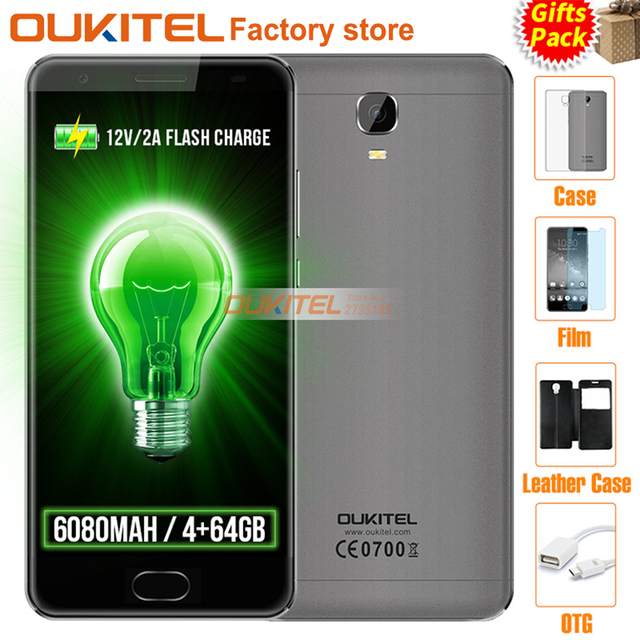 "Original OUKITEL K6000 Plus 4G 5.5""FHD MT6750T Octa Core 4GB+64GB 6080mAh 12V/2A QC Charge 16MP Front Touch ID Smartphone"