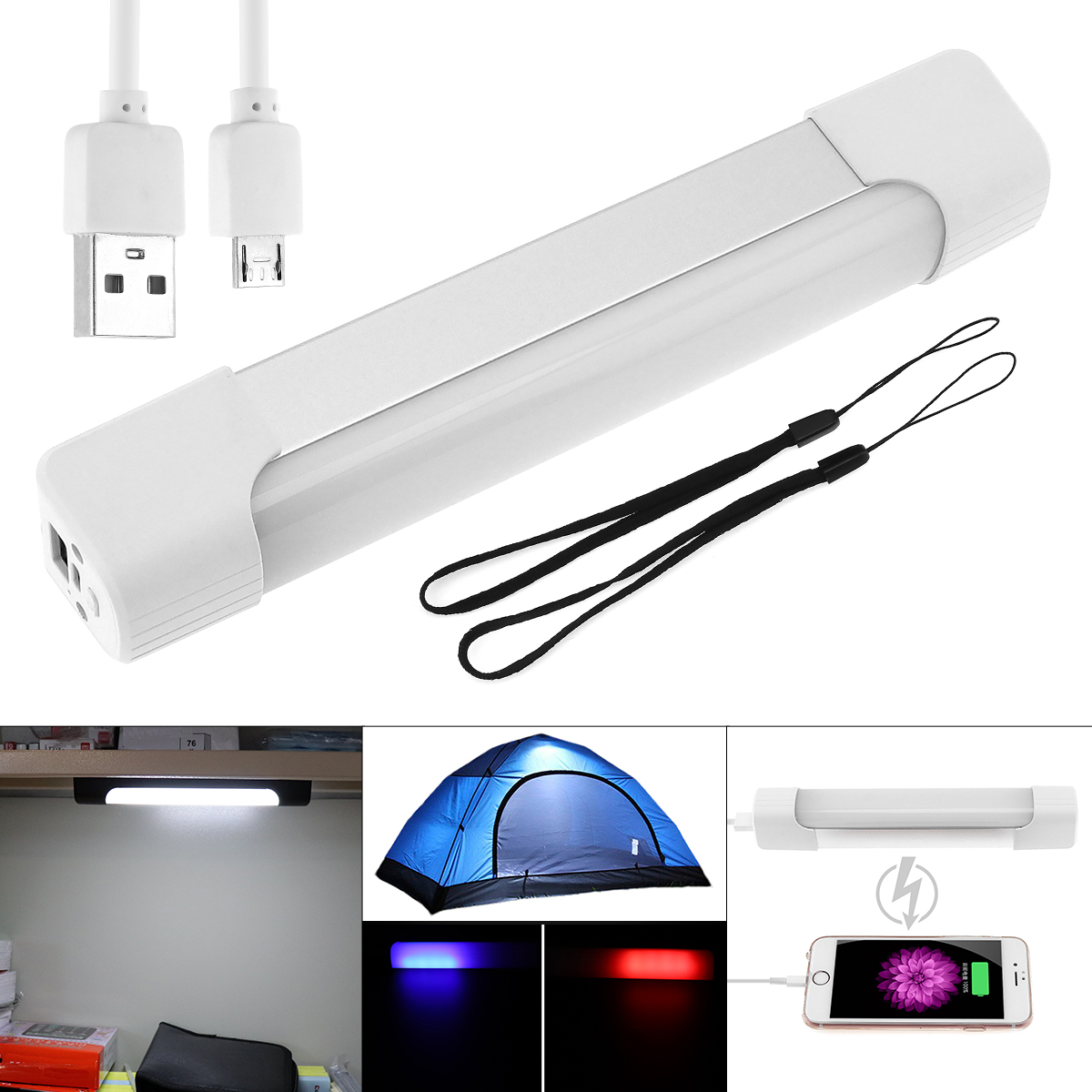 Rechargeable LED Light Tube Multifunctional & Magnet Lamp Bulb,Mini Portable Camping Lantern With 5 Modes For Home/ Outdoor