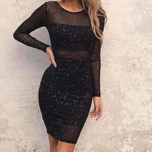 Women's Clothing 2018 Spring Long Sleeve Perspective Dresses Black Slim Sexy Polka Dot Sequined Dress For Women Plus Size