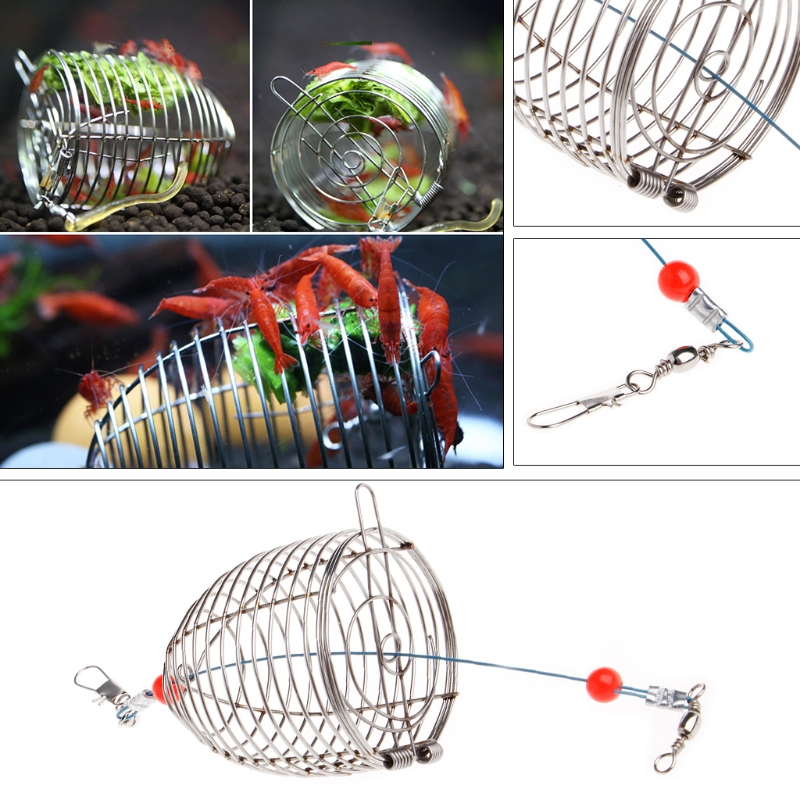 Aquarium Shrimp Small Bait Feeder Dry Spinach Feeding Stainless Steel Cage S/L