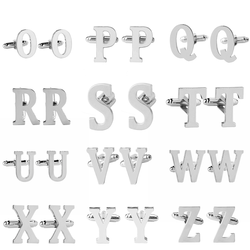 O P Q R S T U V W X Y Z Capital letters Cufflinks man CuffLink for woman French Shirts suit wedding party Cuff Buttons
