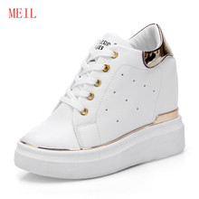 Spring 10 Cm High Heels Platform White Sneakers Women Shoes Fashion Ladies Casual Womens Trainers Korean