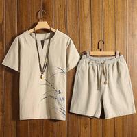 2pcs Plus Size Summer Fashion Men's Cotton And Linen Print O neck Short Sleeve Top Shorts Set Suit Casual Tracksuit For Male Hot