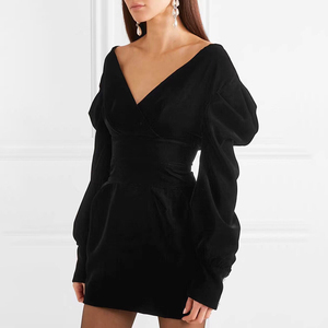 Image 2 - GALCAUR Sexy Party Dress For Women V Neck Puff Sleeve High Waist Large Size Mini Dresses Female 2020 Fashion Summer Clothing