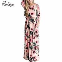 2017 RUIYIGE Boho Women Spring Summer Dress Floral Print Long Maxi Sundress Pocket Silkool Long Sleeve