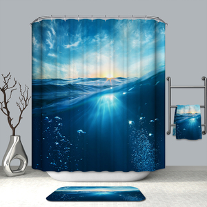 Image 2 - 3D Deep Blue Sea View Shower Curtains the Sea in Sunshine Waterproof Mildew Proof Thickened Bath Curtains for Bathroom