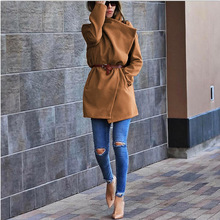 2020 New Autumn Woolen Coat Women Long Woolen Coat Female Winter Coats Long Outerwear Long Outerwear Loose Clothing Oversize cheap BFUSTYLE Polyester spandex Full Solid Pockets Turn-down Collar Open Stitch REGULAR Casual women wool Wool Blends