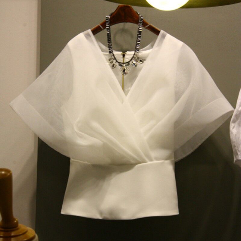 Spring Summer Organza Shirt Women New Fashion Pure-color V-neckline Gauze Top Lady Korean-style Short Sleeve Blouse Tops
