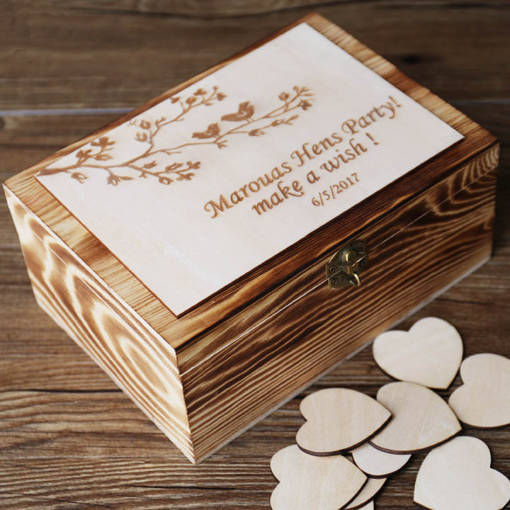 Alternative Wedding Guest Book Custom Rustic Wedding Recipe Box Personalized Wooden Engraved Keepsake Box Bridal Shower Gift In Party Diy