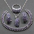 Brillante Plata de Ley 925 de Cuatro Piezas Conjunto Joyería de Las Mujeres Amethyst Púrpura Pendiente Colgante Collar Pulsera Anillo JS87