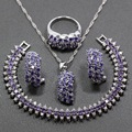 Sparkling 925 Sterling Silver Four Piece Women Jewelry Set Purple Amethyst Earring Pendant Necklace Bracelet Ring JS87