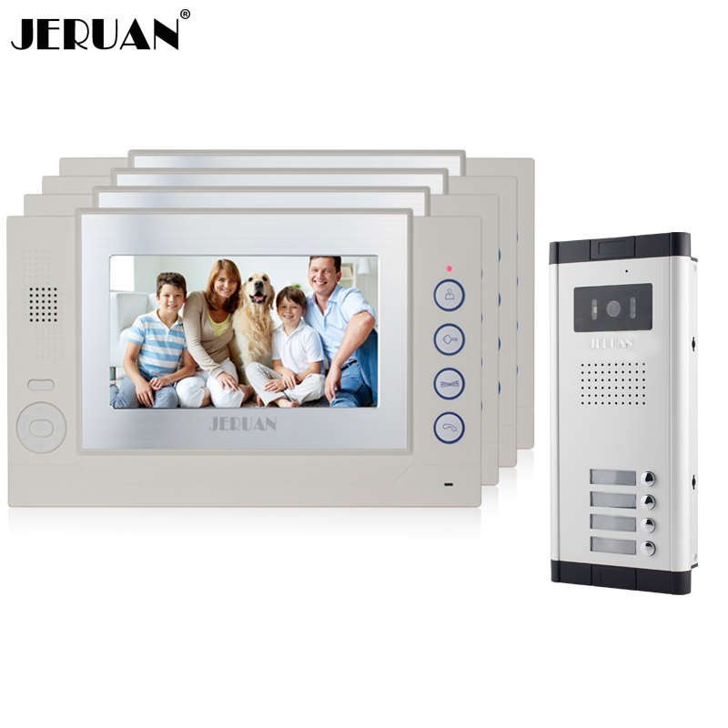 JERUAN Apartment White Doorbell 7`` LCD Video Door Phone Record Intercom System 4 Monitor 1 HD IR COMS Camera for 4 Household jeruan new apartment 7 inch touch key video intercom door phone system 2 white monitor 1 hd ir camera for 2 household