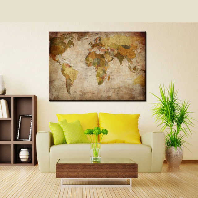Aliexpress.com : Buy Vintage world map decoration oil painting on ...