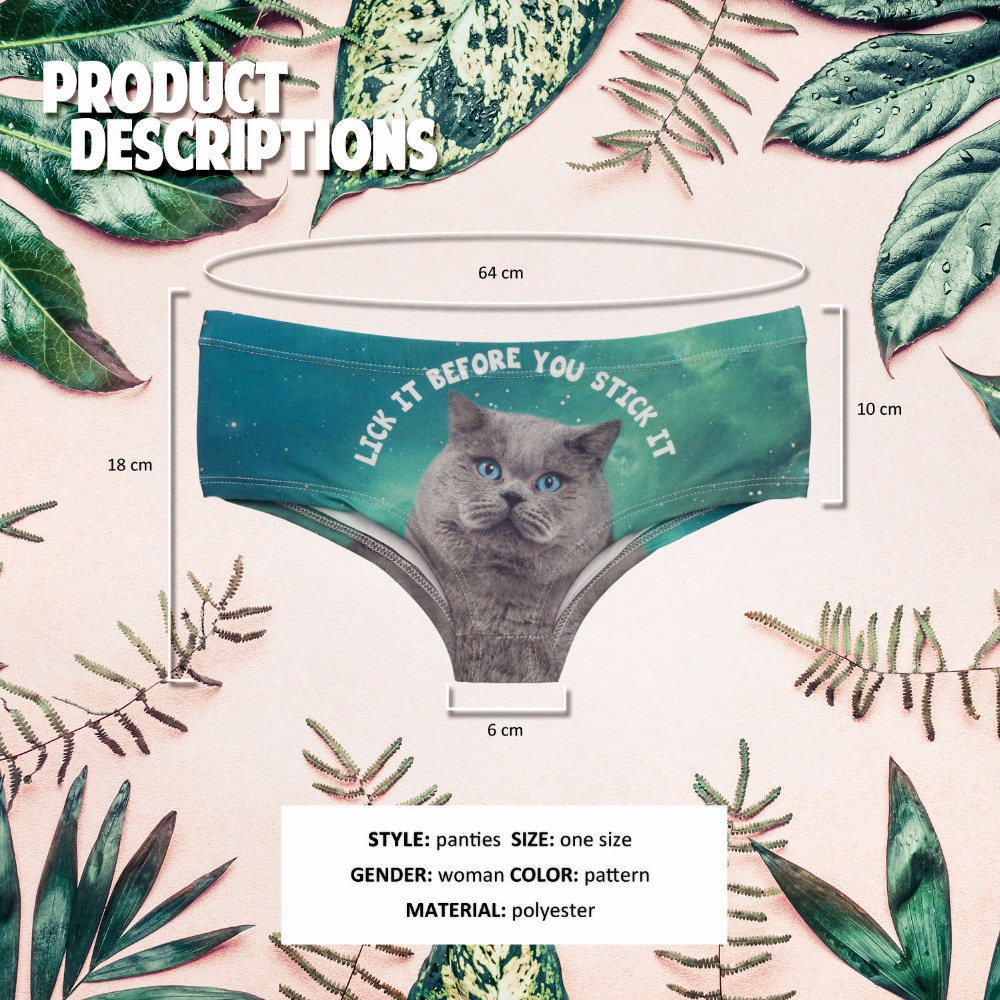 US $3 5 |DorkyBae Funny cats pug dog panda animal print sexy hot panties  kawaii Lovely briefs push up underwear women lingerie thongs on