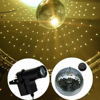 BEIAIDI D20CM 8'' Glass Rotating Party Disco Mirror Ball With AC Motor + 10W RGB Beam Pinspot KTV Bar Party Disco DJ Stage Light