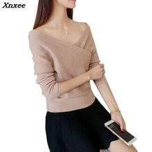 Xnxee V solid all-match slim slim collar sweater sweater shirt 39 Xnxee цены