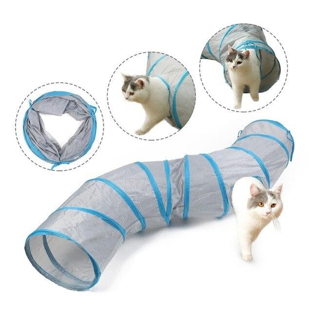 Azul Juguetes para Gatos Tubo Plegable de t/únel para Gatos para Mascotas peque/ñas Conejos Gatitos Hurones Cachorros Longitud 19,3di/ámetro 9,8