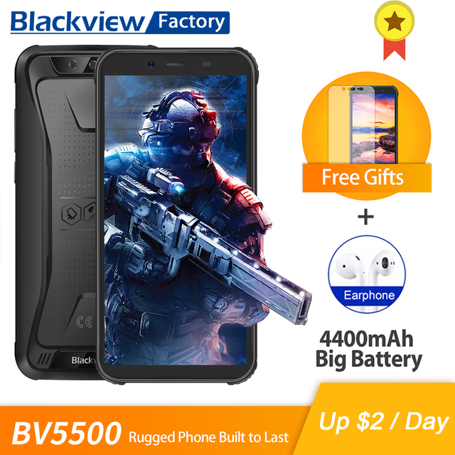 Blackview BV5500 Smartphone IP68 Waterproof 5.5 inch 18:9 HD+ IPS Android 8.1 3G Mobile Phone 8.0MP Camera GPS Rugged Cell Phone