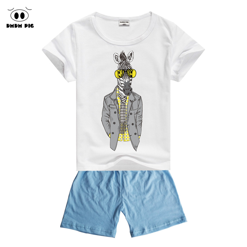 DMDM PIG 2017 New Boys Set Kids Baby Boy Summer Clothes Sets Suit Girls Children Clothing Sports Suits Outfits T-Shirts + Pants