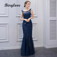 BeryLove Elegant Navy Blue Mermaid Mother of Groom Dresses For Wedding 2018 Cheap Long Sequined Lace Mother of the Bride Dresses