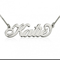 Wholesale 925 Silver Carrie Name Necklace Personalized Nameplate Jewelry Fashion Women Christmas Gift