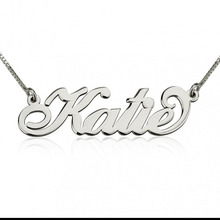 925 Solid Silver Name Necklace Personalized Carrie Style Nameplate Jewelry Fashion Women Christmas Gift